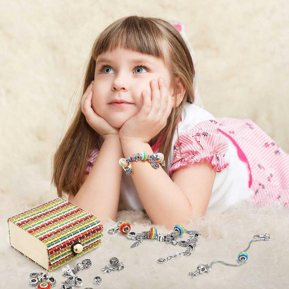 Cadeau pour filles Bracelet faisant ensemble filles bijoux faisant des Kits enfants cadeau bricolage argent plaqué perle serpent chaîne bijoux Bracelet