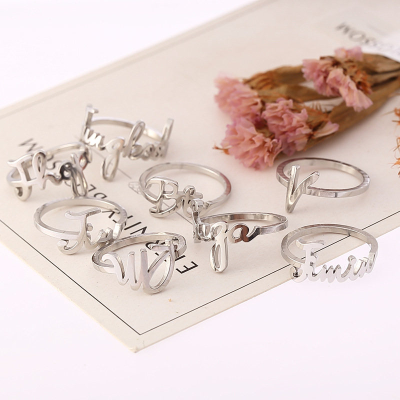 K-pop Rings Bangtan Boys Jungkook SUGA JIMIN JIN Stainless Steel Name Finger Rings Bangtan Boys V Kpop Stationery Set Supplies