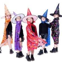 От 2 до 14 лет Хэллоуин Детский костюм, детские маскарадные костюмы, костюм волшебник, ведьма; плащ; накидка; халат с капюшоном для показательные Halloweens