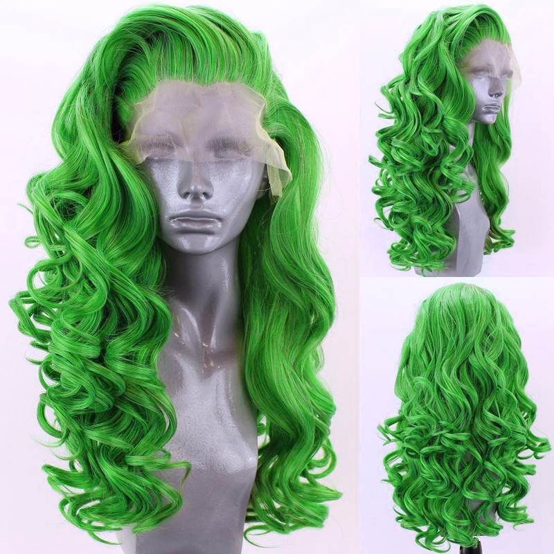 Charisma Long Deep Wave Hair Synthetic Lace Front Wig High Temperature Fiber Hair Pink Wigs For Women Free Part Green Wig