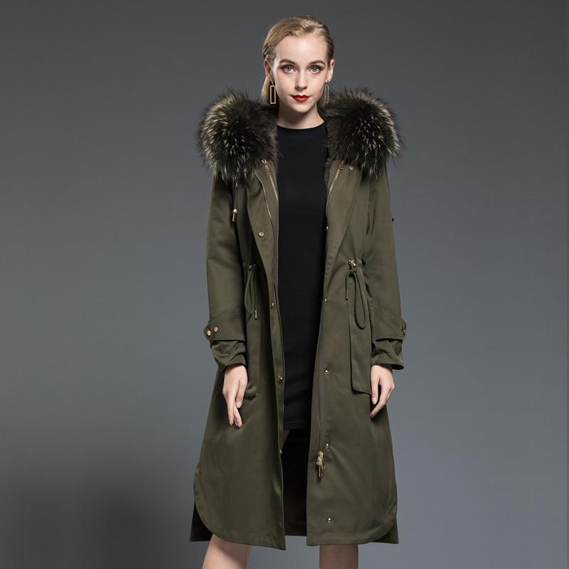 Fur Rabbit Real Liner Parka Women Clothes 2020 Autumn Winter Jacket Women Raccoon Fur Collar Long Trench Coat MY3536