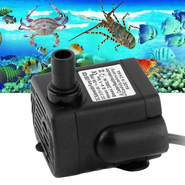 USB Mini DC3.5-9V 3W 200L/H Brushless Submersible Water Pump Shower Aquarium Landscape Fountain Fish Pond Tank Pump Drop Shiping