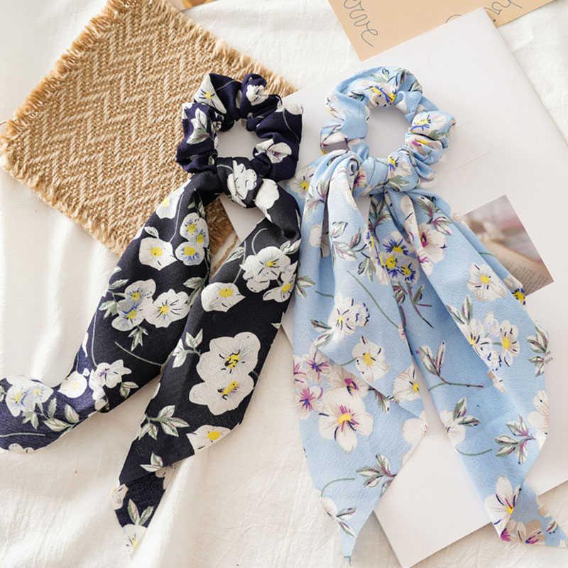 ผู้หญิง Streamers Scrunchies Polka Dot ดอกไม้พิมพ์โบว์ผมเชือกผมเกาหลีหวานอุปกรณ์เสริมผม Headwear