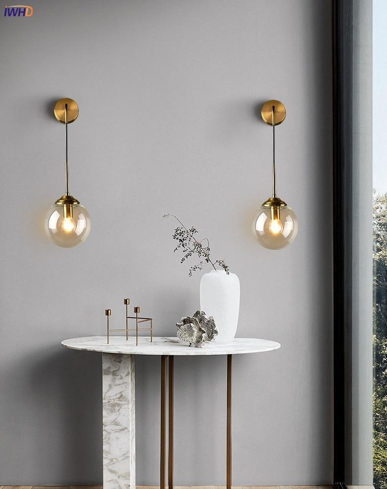 Nordic Modern Wall Lamp Beside Bedroom Glass Ball LED Wall Lights Fixtures Wandlamp Lighting Bathroom Mirror Stair Light (1)