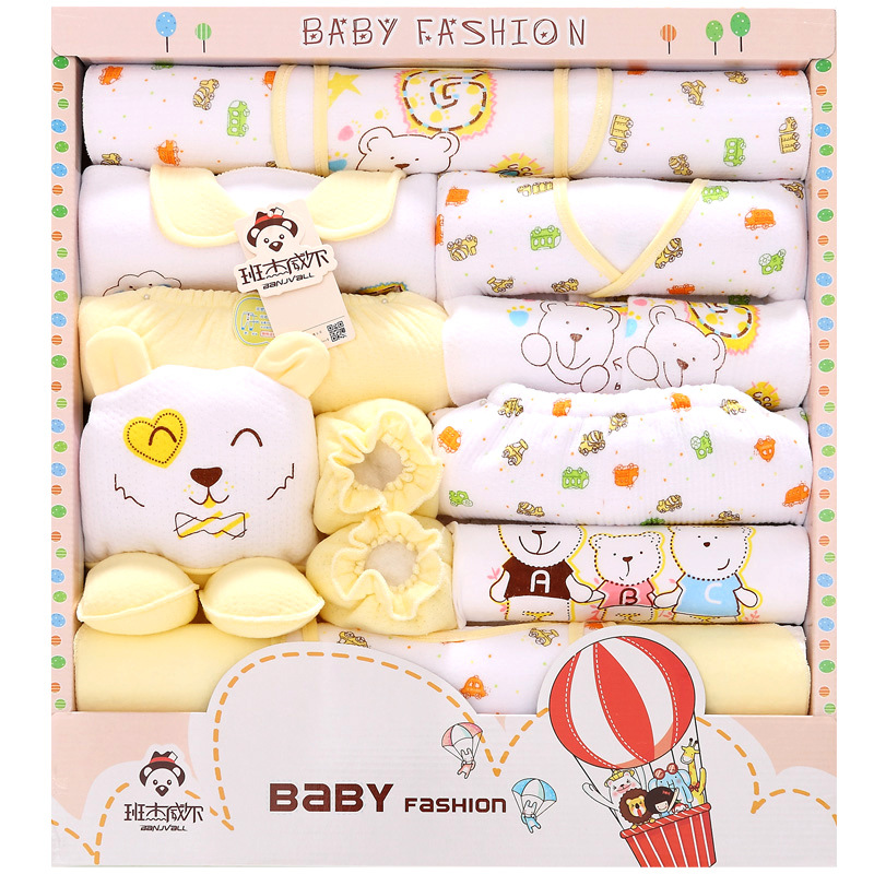 Autumn And Winter Thick Warm Newborns Gift Box Pure Cotton Baby Underclothes 18 Pieces Primary BABY'S FIRST Month Baby Set Suppl