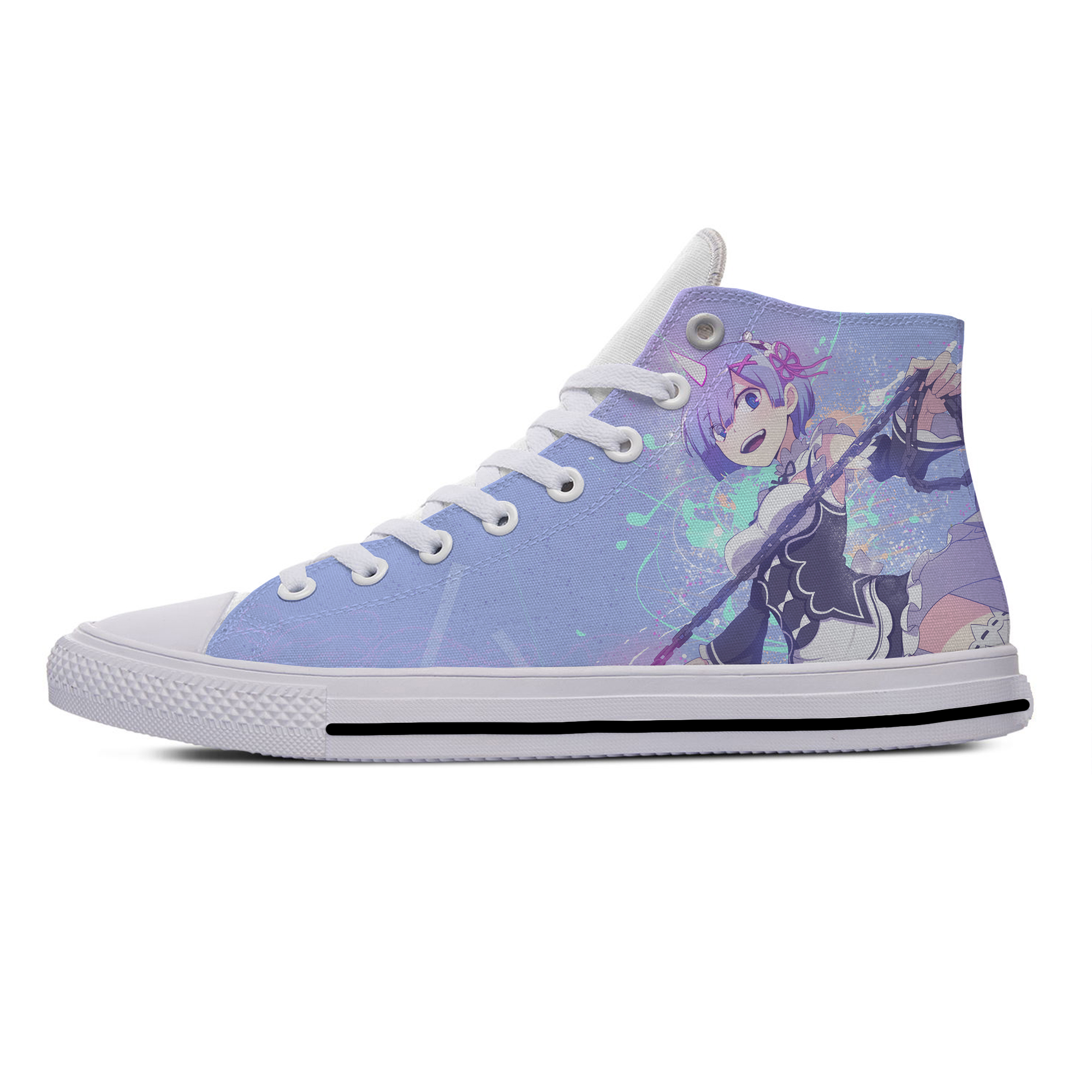 Anime Re Zero Rem Ram Funny Fashion Popular Vogue Casual Canvas Shoes High Top Harajuku Breathable 3D Printed Men Women Sneaker