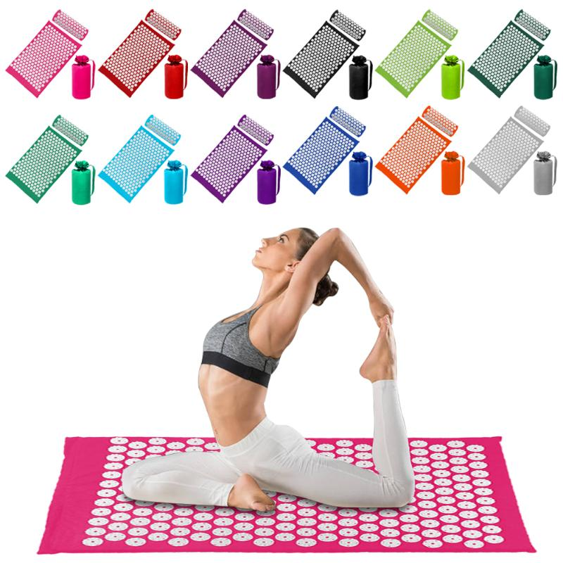 Acupressure Massage Mat with Pillow set to body Relaxation to Release Stress and Tension