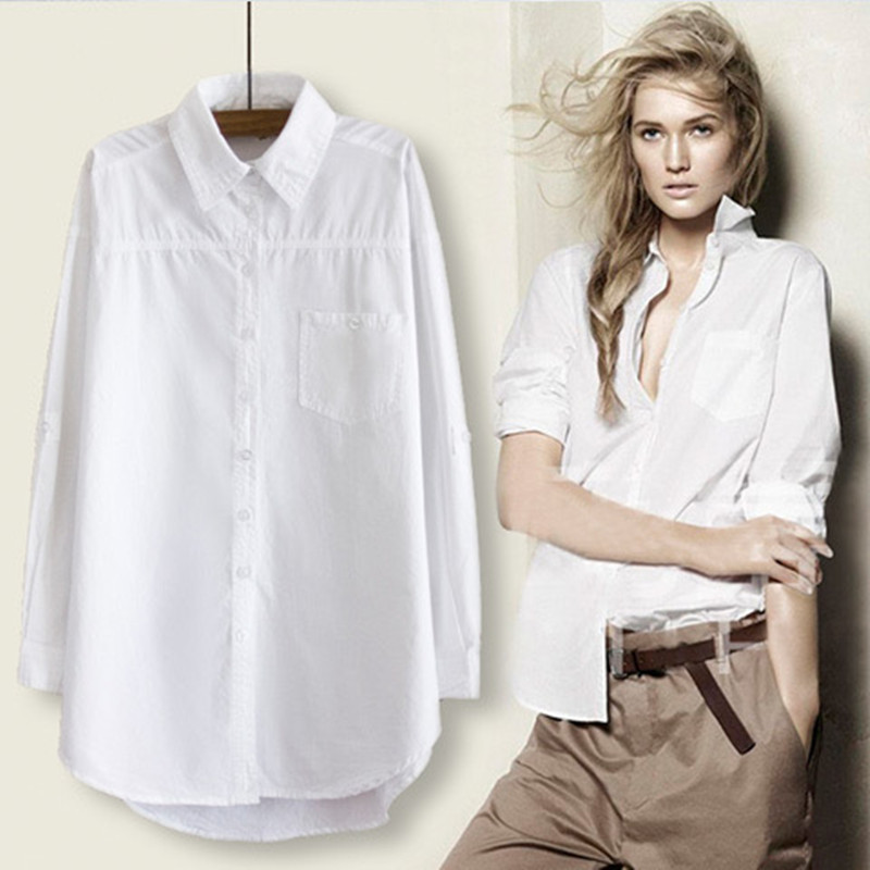 RICORIT Women Long Blouse Women White Shirt Office Ladies 100% Cotton Shirts Casual Cotton Blouse Fashion Blusas Femininas(China)