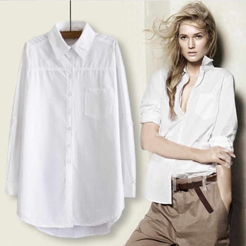 RICORIT Women Long Blouse Women White Shirt Office Ladies 100% Cotton Shirts Casual Cotton Blouse Fashion Blusas Femininas(China)