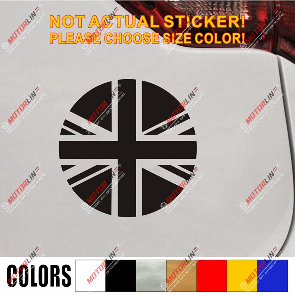UK Flag Union Jack Decal Sticker Car Vinyl Pick Size Color No Bkgrd Round