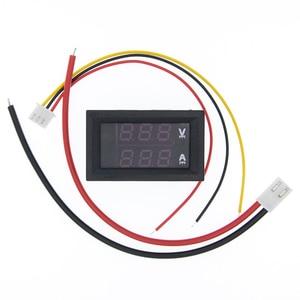 """Image 2 - 10 قطعة تيار مستمر 0 100 فولت 10A الفولتميتر الرقمي مقياس التيار الكهربائي المزدوج عرض كاشف جهد متر الحالي لوحة أمبير فولت مقياس 0.28 """"الأحمر الأزرق"""