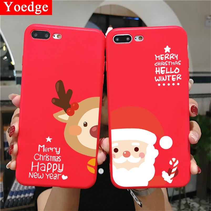 Cartoon Christmas Case For <font><b>Samsung</b></font> Galaxy A7 A8 <font><b>A9</b></font> A6 J4 J6 Plus J8 2018 A3 A5 J3 J5 J7 <font><b>2016</b></font> 2017 Grand Prime Red Matte TPU Case image
