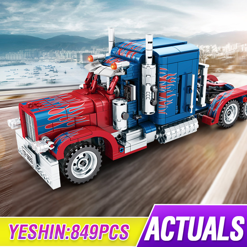 Technic Series 701803 Peterbilt 389 849PCS Heavy Container Trucks Model Building Blocks Set Classic Model Toys For Children