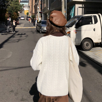 Ailegogo Knitted Women Sweater Autumn Winter Casual Female V-neck Knit Pullovers Solid Color Loose Fit Ladies Knitwear Tops 3