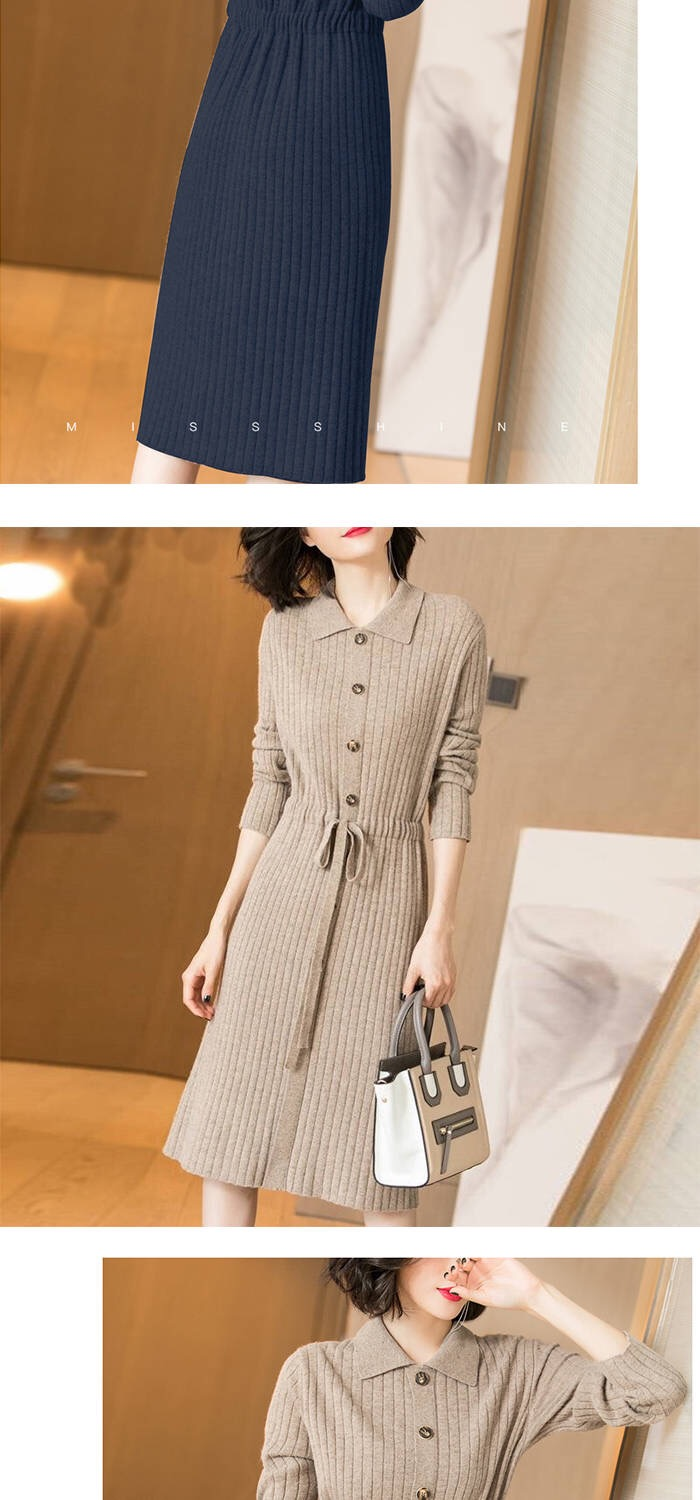 Vangull Women Knitted Dresses Solid Female Long Sleeve Dress 2019 New Autumn Winter Turn-down Collar Button Solid Slim Dresses 61