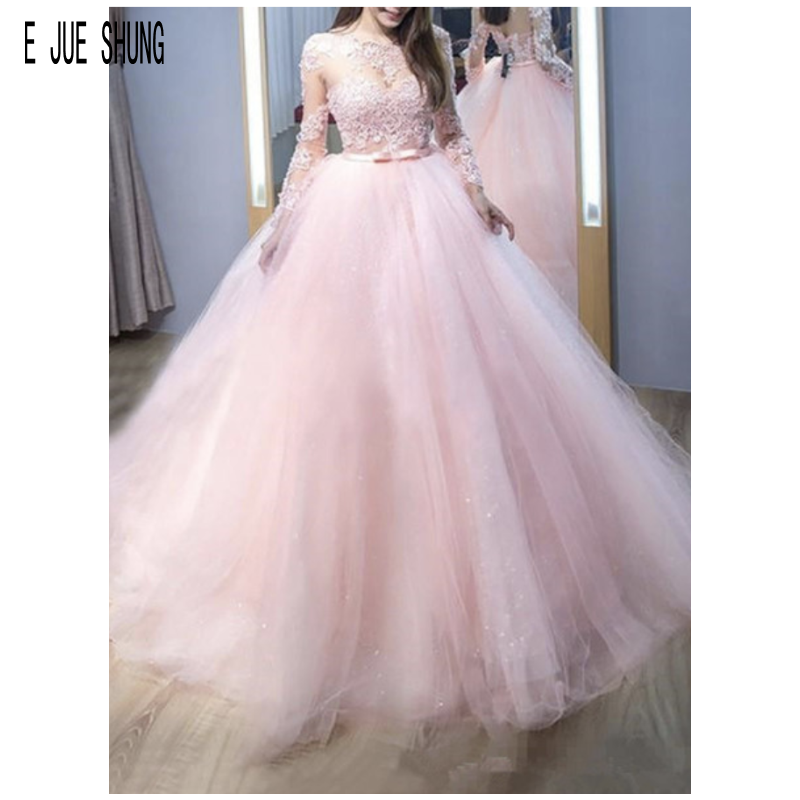 E JUE SHUNG Sexy Pink Ball Gown Wedding Dresses O Neck Long Sleeves Bow Sash Appliques Illusion Back Bridal Gowns Robe De Mariee