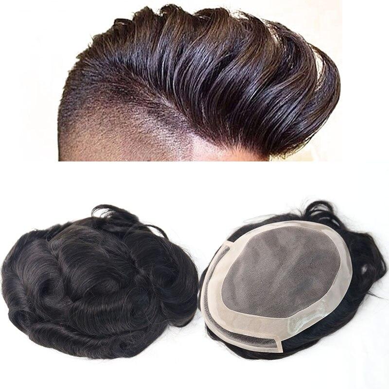 Парик для волос натуральная система для волос для мужчин 100% европейские натуральные волосы тупея ПУ Замена для мужчин t система 1B # цвет VenVee
