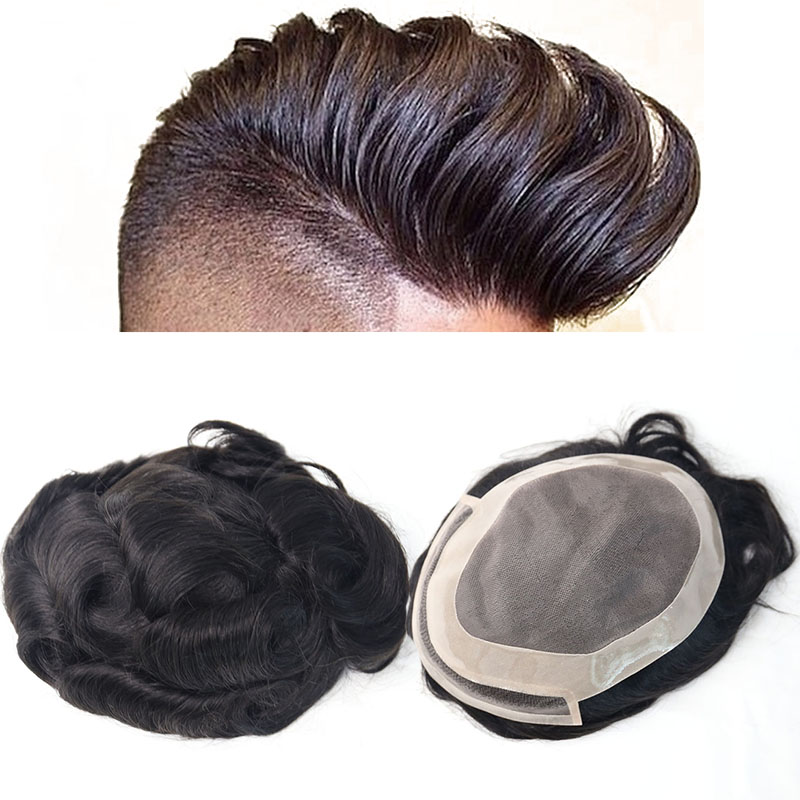 Hair Toupee Natural Looking Hair System For Men 100% European Human Hair Toupee PU Replacement System 1B# Color VenVee Remy Hair