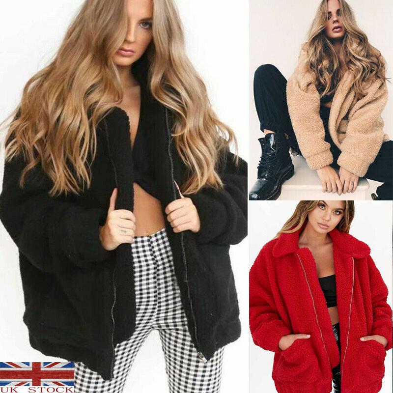 Lady Teddy Bear Pocket Fluffy Coat Fleece Fur Jacket Outwear Button Hoodies Top