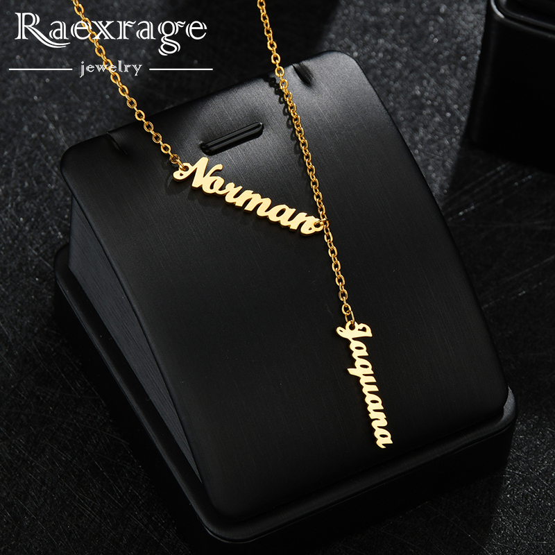 Raexrage personalizado dois-três nomes colar vertical de aço inoxidável personalizado placa de identificação corrente colares família charme jóias