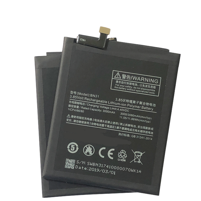 BN31 Battery For XIAOMI Mi A1 Mi 5X Redmi Y1 Lite S2 3000mAh Replacement For Xiaomi Redmi Note 5A Battery Note 5A Prime