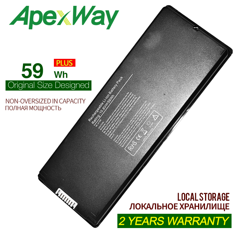 """59Wh BLACK  Silver laptop Battery for Apple A1185 A1181 For MacBook 13"""" MA701 MB061 MB062 MB402 MB403 MB404 MB881 MC374 MC375"""