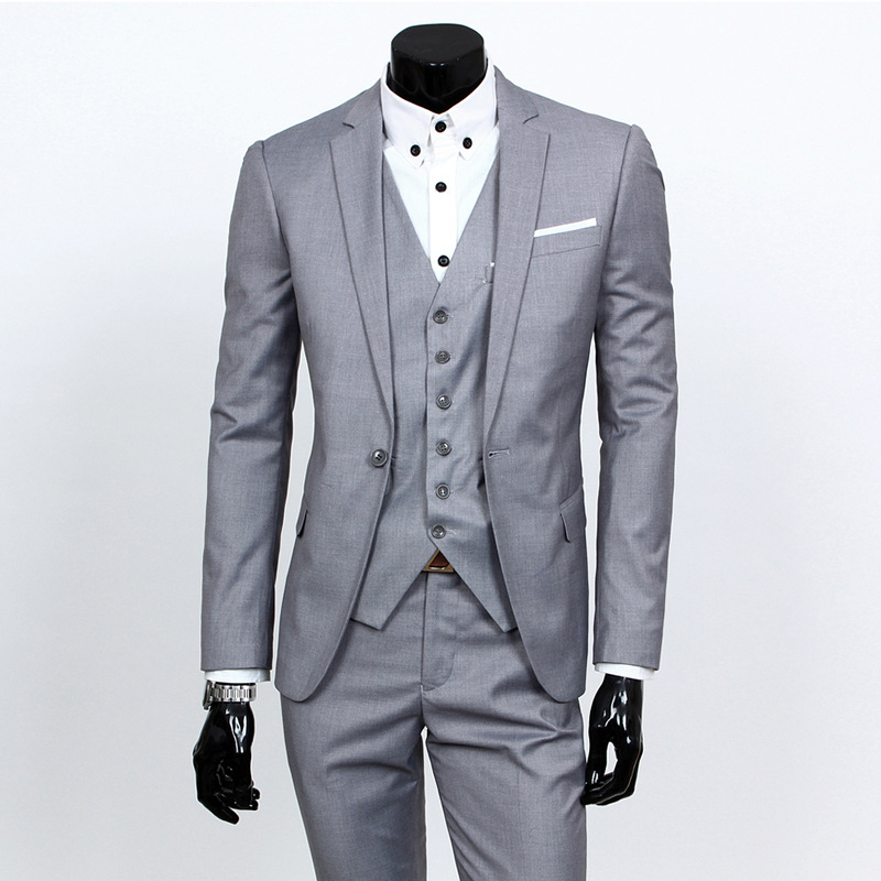 Suit Men's Three-piece Set Casual Solid Color Small Suit Korean-style Slim Fit Formal Wear Groom Handsome Marriage Formal Dress