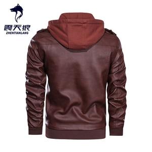 Image 3 - Blouson en similicuir PU chaud à capuche homme, coupe vent, pour moto, automne hiver offre spéciale, vêtements pour hommes