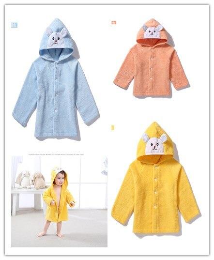 Cute Little Bear Cartoon Infant Child Baby Bath Towel Hooded Cloak Bathrobe Pure Cotton Soft Absorbent Toweling Bathrobe