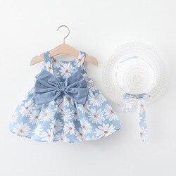 Летнее платье для детей ясельного возраста детская одежда для девочек с цветочным принтом, платье принцессы с цветочным рисунком, платье с ...