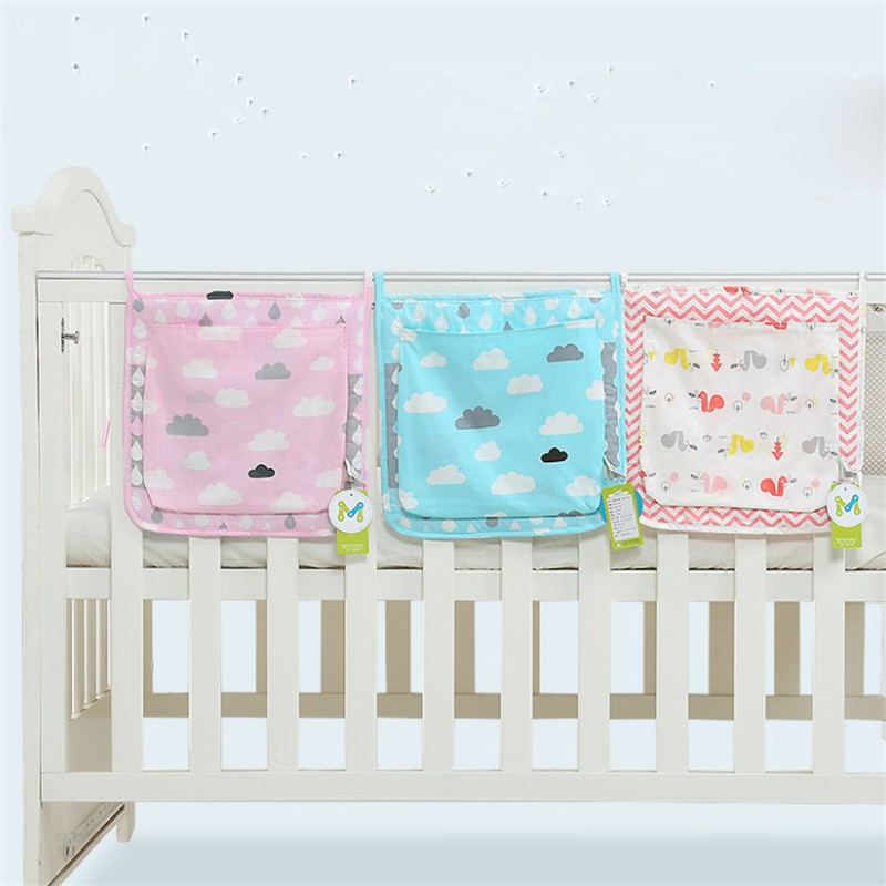 30*30cm Bed Hanging Storage Bag Baby Crib Bed Baby Cotton Crib Organizer Toy Diaper Pocket For Crib Bedding Set