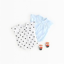 Summer Sleeveless  Baby Girl Boy Romper Clothes Solid Button Newborn Jumpsuit 40