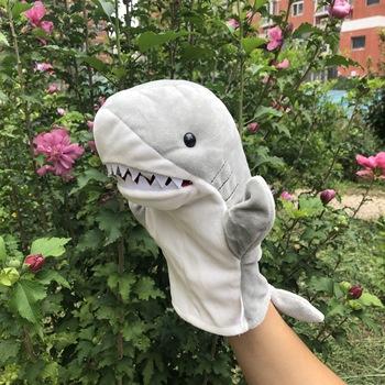 Niebieski rekin piękny pacynka zwierząt pluszowe zabawki dla dzieci dorosłych z ustami zwierząt lalek Shark opowiadanie zabawek urodziny prezenty tanie i dobre opinie Fancy Hotty smoke-free pet-free Puppets Plush 3 lat SH-1 Unisex Hand Puppet