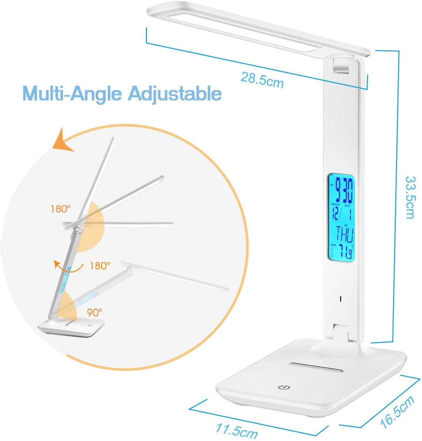 Modern Business Led Office Desk Lamp Touch Dimmable Foldable With Calendar Temperature Alarm Clock table Reading Light LAOPAO 5