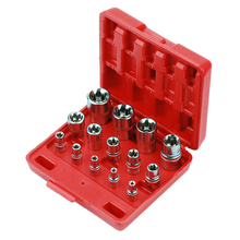 14pcs E4-E24 Torx Socket Set 1/4&3/8&1/2 Wrench Head CR-V E-type Spanner Allen Head Universal Sockets Tool Auto Repair Tools 5pcs e socket sockets 1 4 inch 6 3mm torx star bits chromium vanadium steel female socket nuts set e4 e5 e6 e7 e8 hand tools