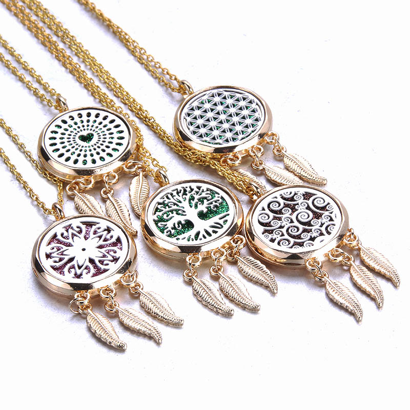 Gold/&Silver Locket Pendant Aromatic Enssential Oil Diffuser DIY Necklace Jewelry