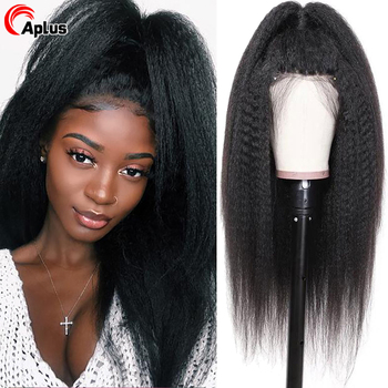 Kinky Straight Wig 13x6 Transparent Lace Front Human Hair Wigs Glueless 360 Lace Frontal Wig For Women Peruvian HD Lace Wig 180