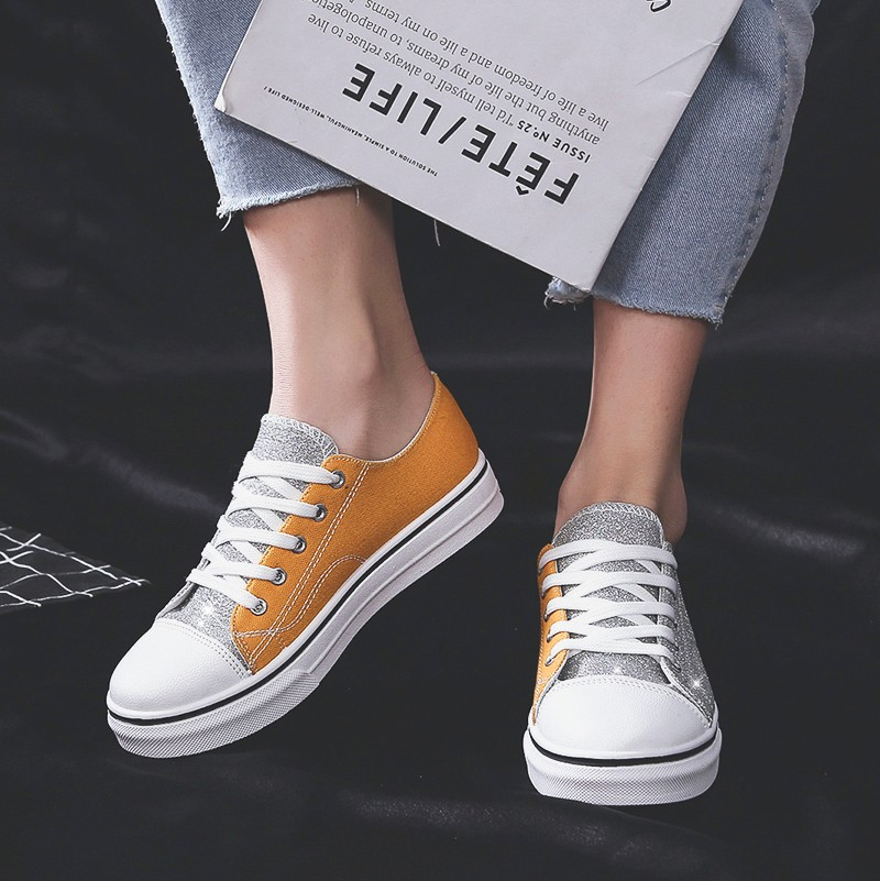 2019 Summer New Style Large Size Casual Low-cut Shoes Hong Kong Style Joint Sequin WOMEN'S Canvas Shoes Students Skate Shoes