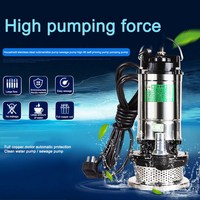 370W Clear Water Pump Submersible Dirty Sewage Pump High Lift Flow Stainless Steel Heavy Duty Cable Back Float Switch