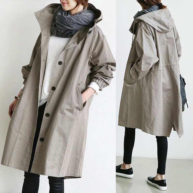 Women Coats New Solid Color Casual Korean Hooded Collar Loose Autumn Winter Women Trench Coat Plus Size Simple