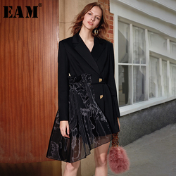 [EAM]  Women Black Organza Asymmetrical Blazer New Lapel Long Sleeve Loose Fit  Jacket Fashion Tide Spring Autumn 2020 1K895