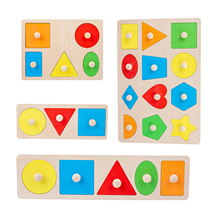 Montessori Materials Colorful Geometry Grasping Board Wooden Pegged Grab Shape Sorting Board Toys For Baby Home Friendly