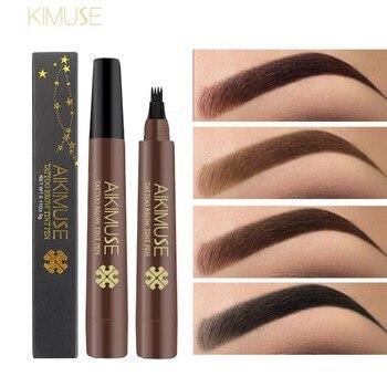 KIMUSE 4 Head Makeup Eyebrow Enhancers Matte Smudge-proof Waterproof Tattoo Pen Long-lasting Eyebrow Pencil Cosmetic 4 Colors