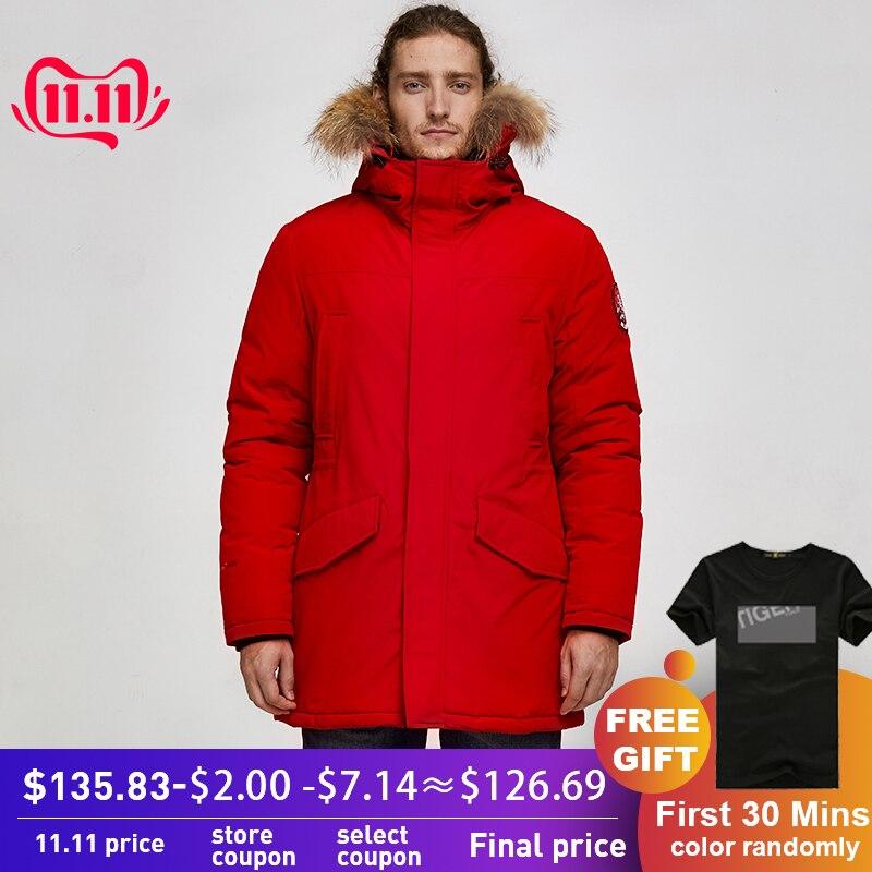 Tiger force 2019 alaska parka jaqueta de inverno para homens casaco quente à prova dwaterproof água com capuz de pele real masculino grosso snowjacket grande bolso