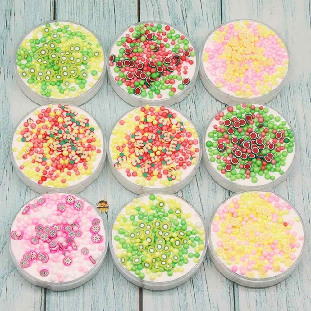 60ml fruta Chips cuentas DIY algodón plastilina barro arcilla relleno claro limo caja juguetes para niños Slime juguete educativo