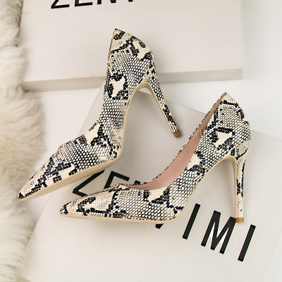 New Ladies Summer Sandals Fashion Snake Stripes Pointed Toe Casual  Super High Heel Pumps Wedding Party Shoes