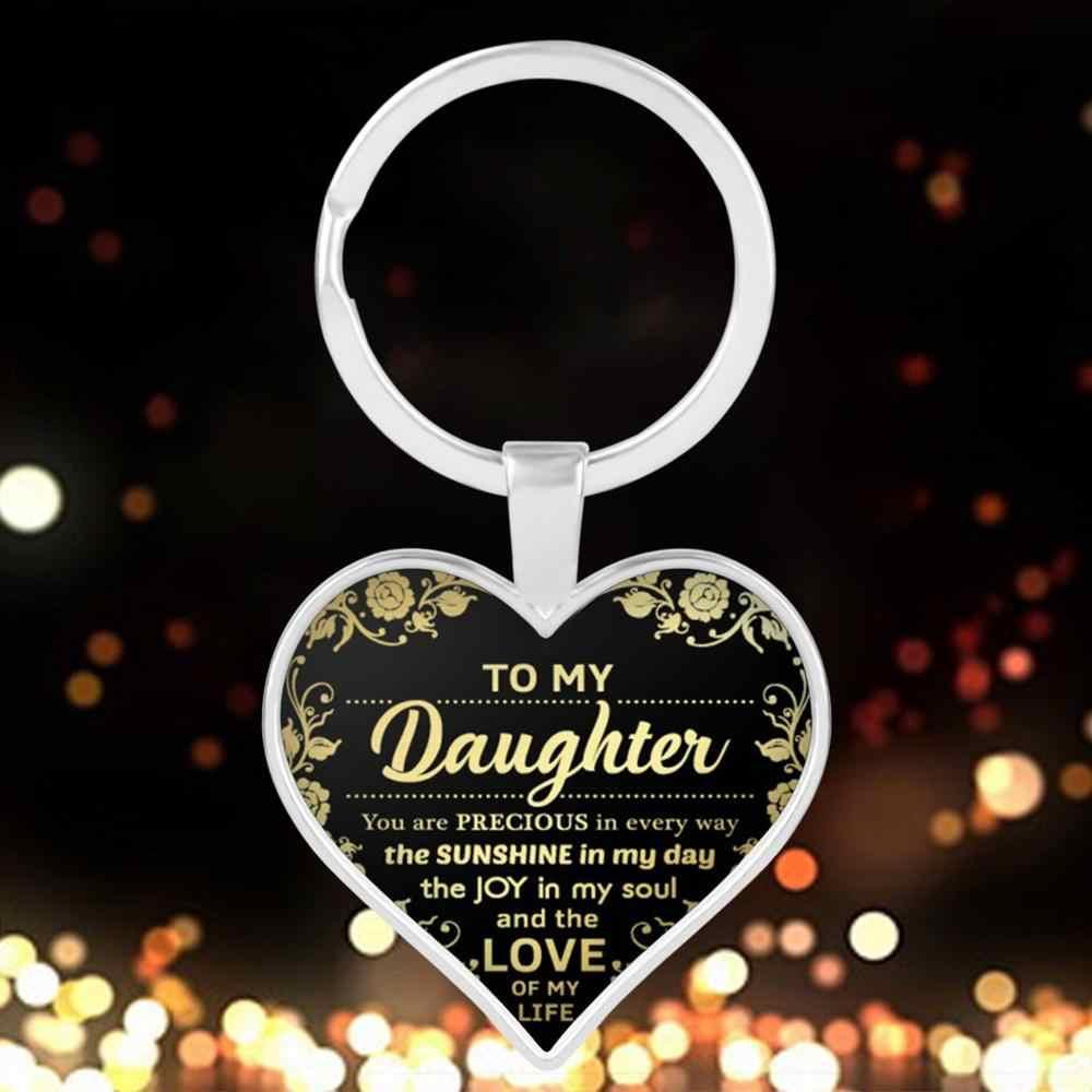 Brief Aan Mijn Dochter/Vrouw/Vriendin Sleutelhanger Hars Epoxy Hart Vorm Sleutelhanger Voor Vrouwen Mannen Kid Gift sieraden Accessoires