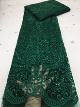 Latest Green African Lace Fabric 2020 High Quality Lace French Milk Silk Lace Fabric With Sequins nigeria party dress LDP20112