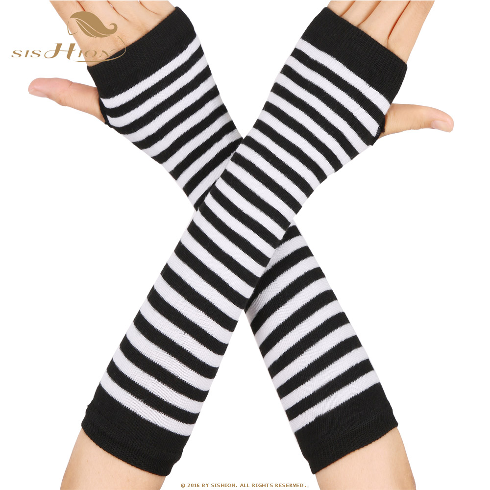 SISHION Women Long Sleeve Striped Fingerless Gloves Lady Stretchy Soft Knitted Wrist Arm Warmer SP0527
