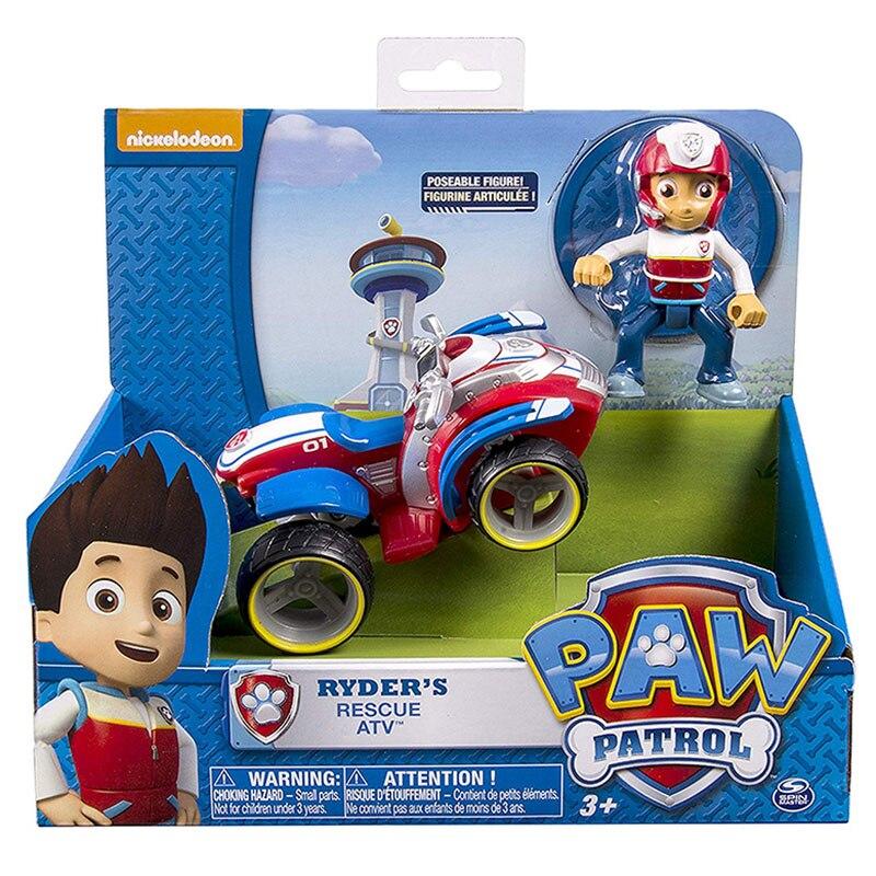 Paw Patrol zestaw zabawek Ryder Rescue Car Puppy Patrol Patrulla Canina figurki akcji z anime zabawki na prezent urodzinowy dla dzieci D93